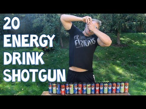 20 Energy Drink Shotgun - *Do NOT Attempt This At Home*