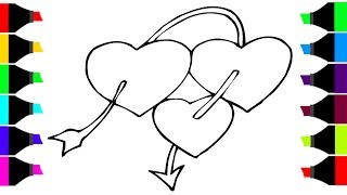 Heart Shape Coloring Pages How To Draw And Coloring Heart Shape For Kids Step By Step Tutorial Video