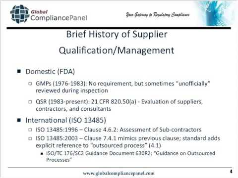 Supplier Evaluation & Assessment How to Meet FDA QSR & ISO 13485 Requirements