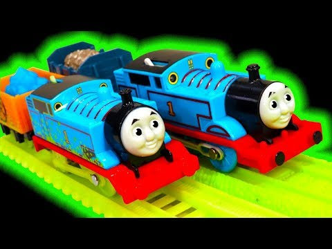 Thomas TrackMaster Glowing Mine Vs Classic Thomas Midnight Ride Glow In The Dark Toys