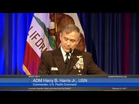 ADM Harry B. Harris Jr., USN, Commander, USPACOM. WEST 2017, 21 February Luncheon Keynote