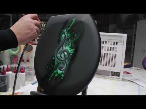 Airbrush Tutorial Videoanleitung Step by Step WC-Sitz / Toilet Seat Musik Note Design