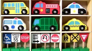 Lets Learn Road Traffic Signs and Emergency Cars with Toys Club Wooden Car Toys for Kids