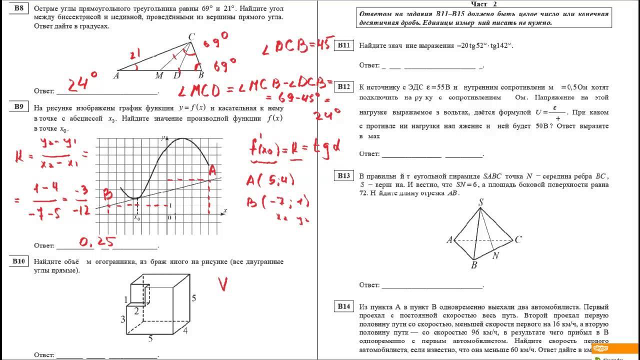 Контрольная 11 класс по математике статград