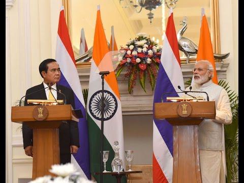PM Modi with PM of Thailand Mr Thai PM Prayut Chan-o-cha at the Joint Press Statement in New Delhi