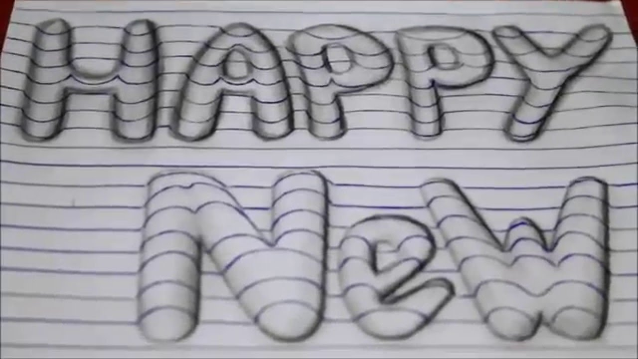 Drawing Lines Year : How to draw happy new year d art easy line on paper