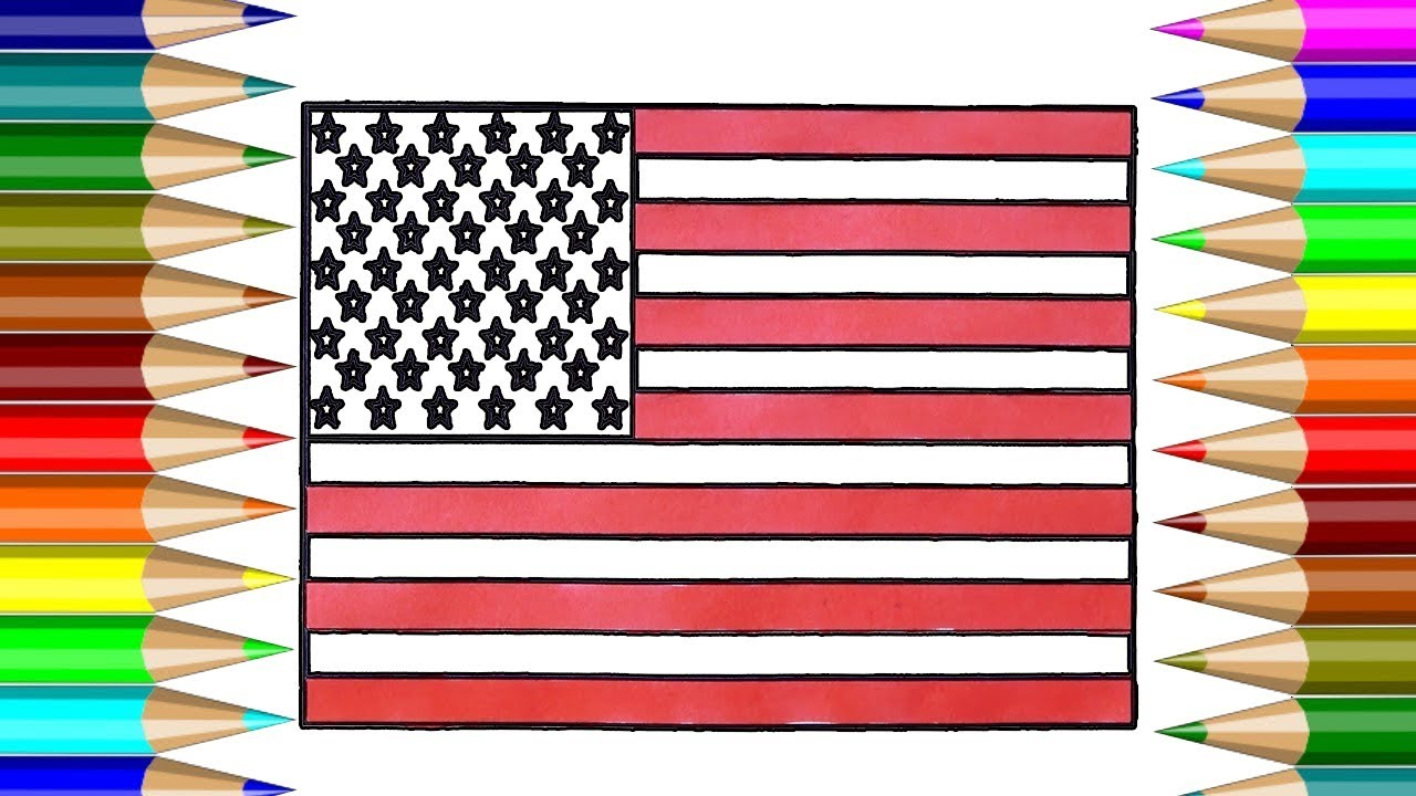 united states flag coloring book how to draw united states flag