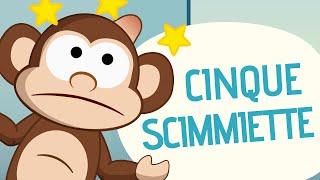 Cinque Scimmiette Saltavano Sul Letto.Maialini Che Saltano