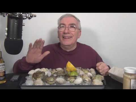 ASMR Eating  Raw Little Neck Clams vs Oysters Whispering