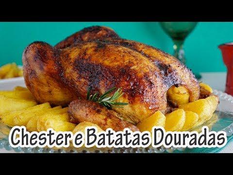 CHESTER COM BATATAS DOURADAS I Receitas e Temperos