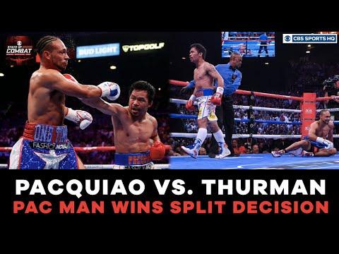 Pacquiao HUGE knockdown  Thurman bloody nose  Pacquiao vs. Thurman Highlights