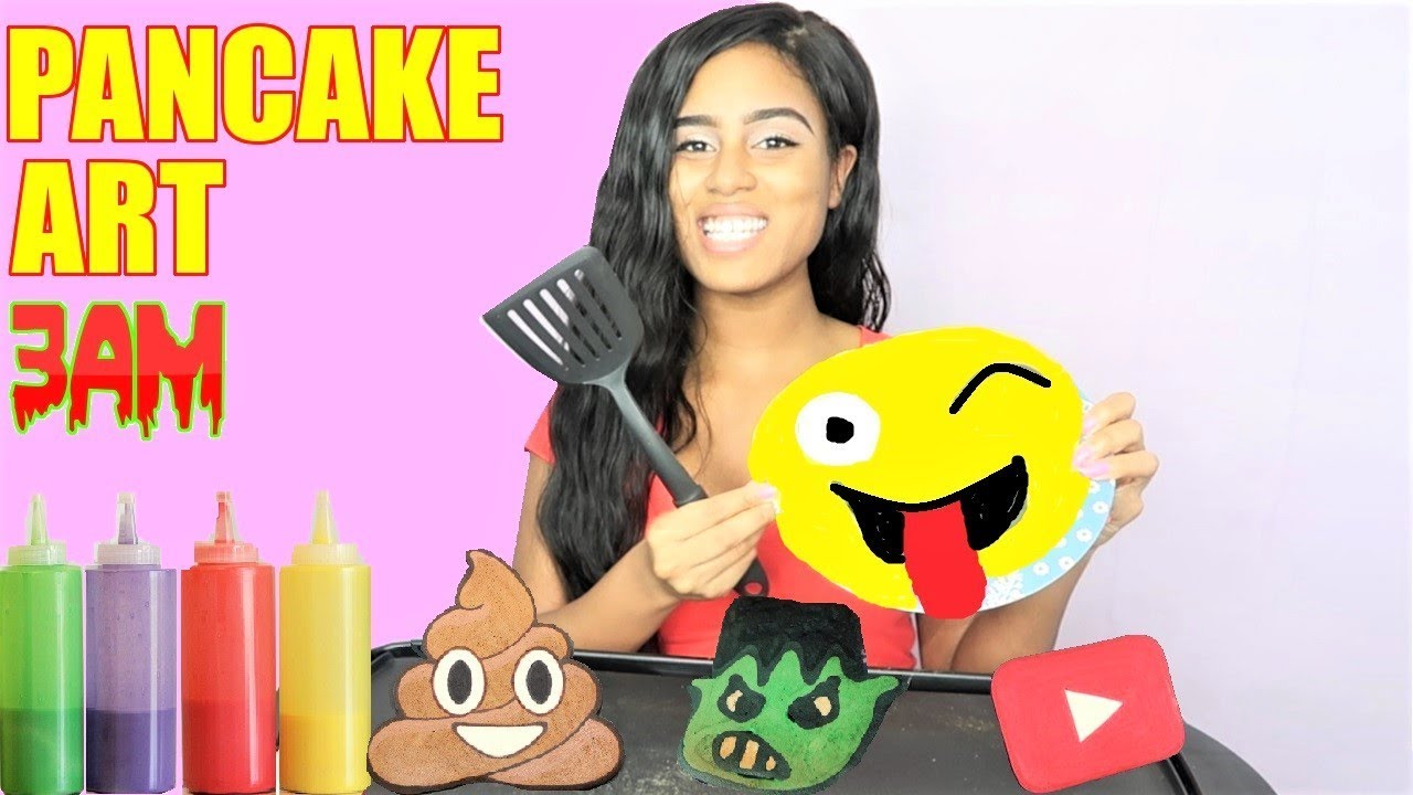 Pancake Art Challenge : PANCAKE ART CHALLENGE AT 3AM !! Learn How To Make Emojis ...