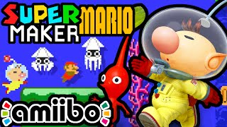 Super Mario Maker PART 4 Gameplay Walkthrough (Olimar Amiibo Pikmin Level, Underwater Tools) Wii U