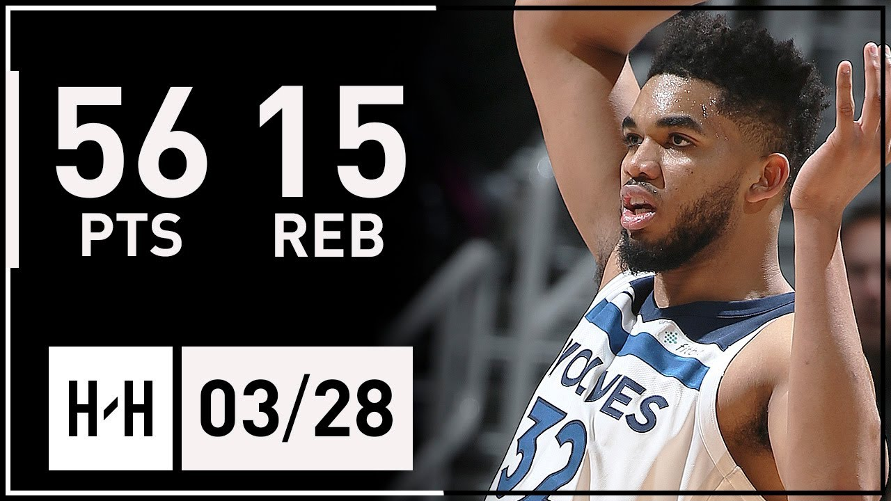 Karl-Anthony Towns UNREAL Career-HIGH Highlights vs Hawks (2018.03.28) - 56 Points, 15 Reb, BEAST!