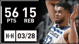 Gambar cover Karl-Anthony Towns UNREAL Career-HIGH Highlights vs Hawks (2018.03.28) - 56 Points, 15 Reb, BEAST!