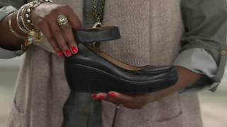 Clarks Artisan Leather Ankle Wrap Wedge Pumps - Clarene Tide on QVC