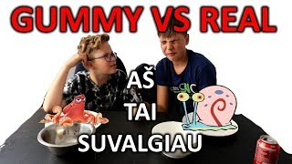 gummy vs real food challenge lietuviškai