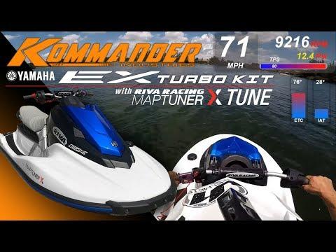 Kommander Yamaha EX Turbo Kit 71mph With Riva Maptuner X Tune Testing