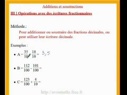 6ème cours de maths sur les additions et soustractions de ...