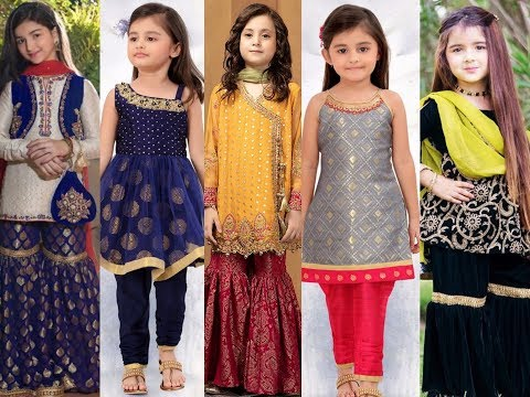 Stylish banarasi fabric kids frocks/kids brocade lehenga choli designs/kids outfits collection