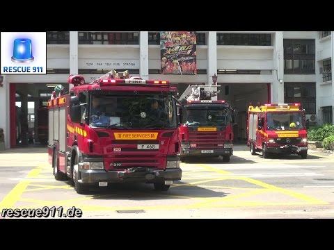 [Hong Kong Fire response]  MP + HP + LRU + TL Tsim Sha Tsui Fire Station