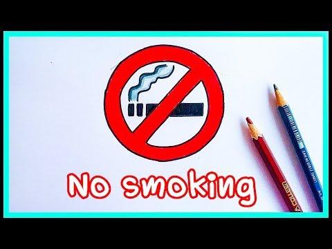 How To Draw No smoking sign.วันงดสูบบุหรี่โลก ป้ายห้ามสูบบุหรี่