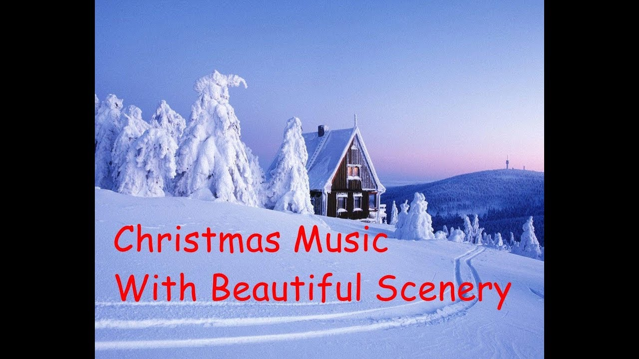 christmas music with beautiful christmas and snow scenes