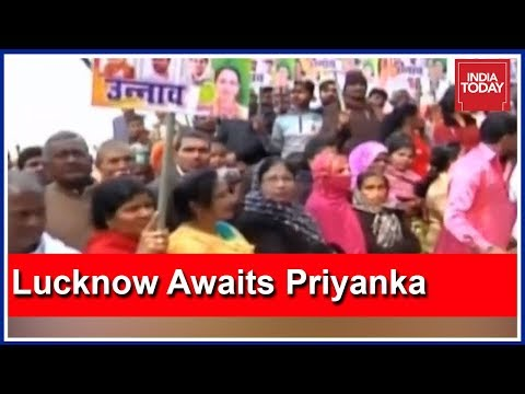 Roadshow LIVE: Congress Supporters Await Priyanka Gandhi At Amausi Airport In Lucknow