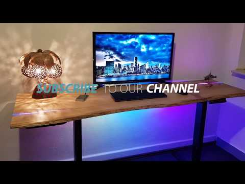 My Dream Lift Desk DIY how to make a Raw Oak Wood desk 2K Epoxy Inlay LED WS2813 adjustable Desk