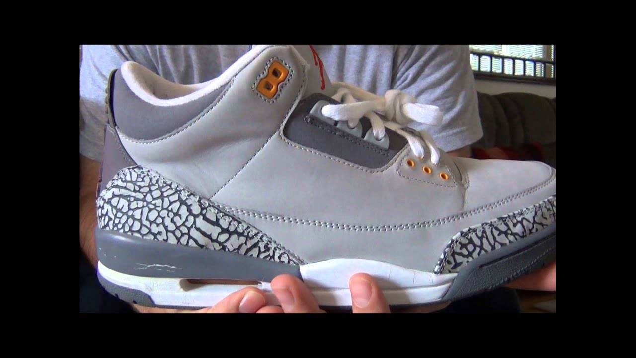 750419fb29dc72 LIVE! Nike Air Jordan III Cool Grey Retro Review - YouTube
