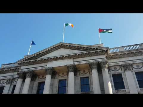 Palestinian flag flies over Dublin City Hall, Ireland , Palestine
