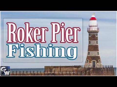 Fishing Roker Pier In Sunderland.