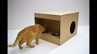 DIY Домик-кормушка для кота из картона