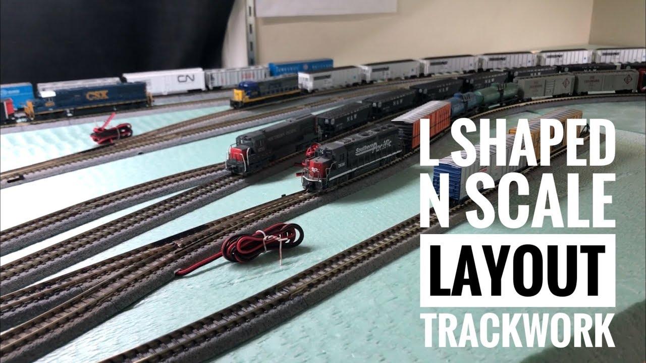 l shaped n scale layout track work