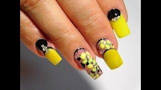Желтые цветы Красивый и простой летний дизайн ногтей