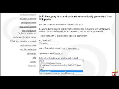 HOW TO DOWNLOAD ARTICLES ON WIKIPEDIA IN AN MP3 AUDIO FORMAT