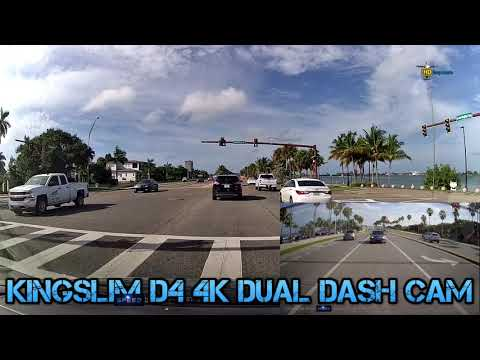 Kingslim D4 4K Dual Dash Cam with Built-in Wi-Fi GPS - sunny - rainy - night footage