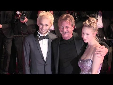 Proud dad Sean Penn and his son and daughter, Hopper and Dylan Penn, on the red carpet in Cannes