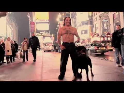 "Danny Trejo in Times Square with Carrabba Haus Rottweiler ""Razor"""