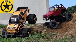 Bruder Toys RC MonsterJEEP vs. Carrera RC Ford Raptor DRIVE HARD!
