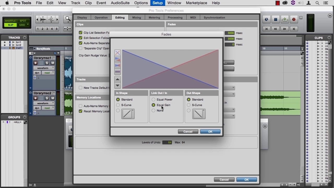 learning protools 12 05 05 fade and crossfade options youtube. Black Bedroom Furniture Sets. Home Design Ideas