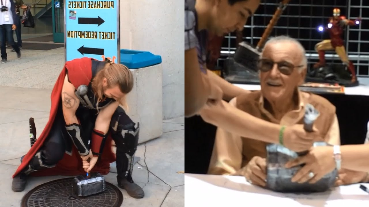 real thor s hammer at comikaze stan lee signing
