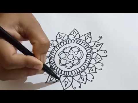 रंगोली-बनाने-का-आसान-तरीका-|-simple-rangoli-design-with-sketch-pen