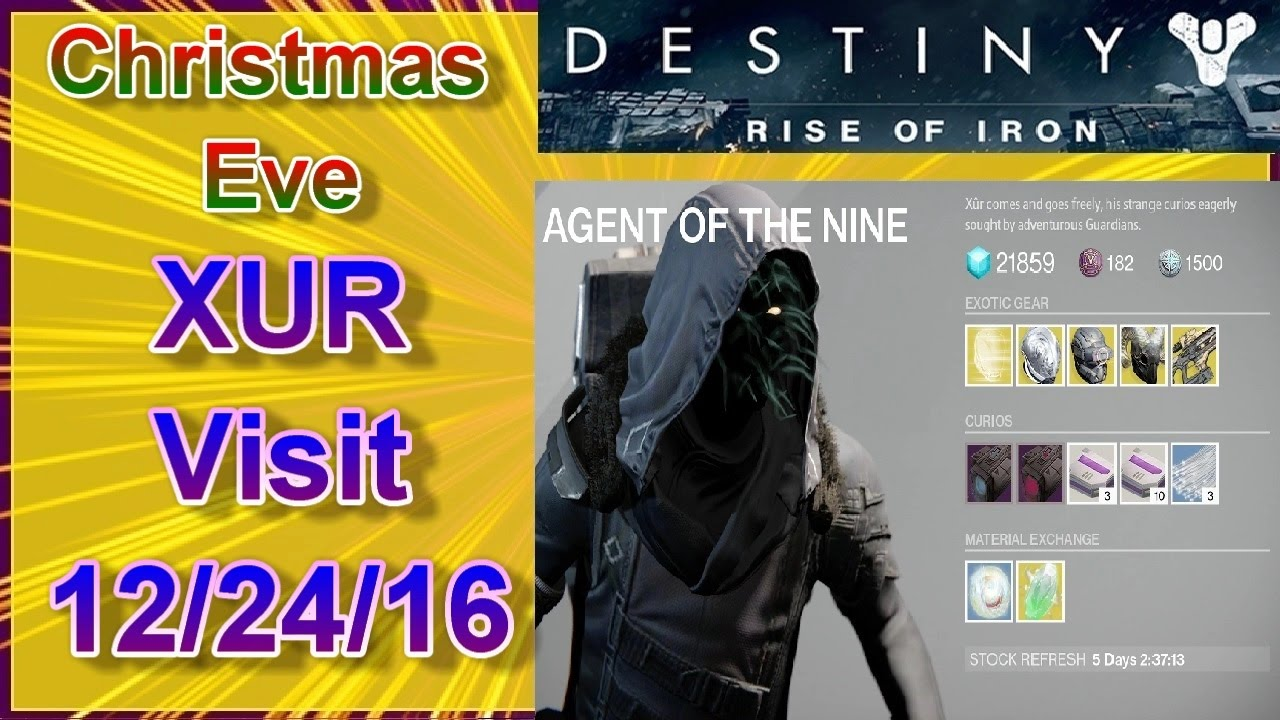 DESTINY Rise of Iron: Christmas Eve Xur Visit 12/24/16 - YouTube