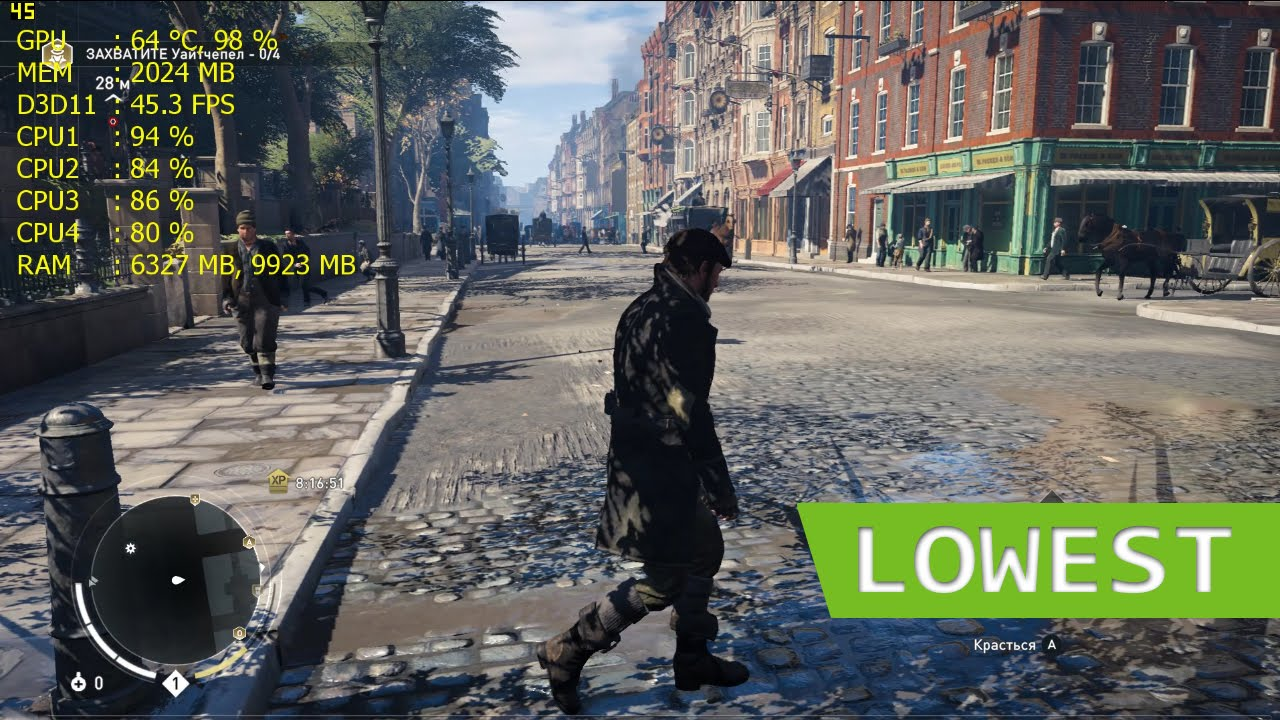 Assassin S Creed Syndicate Lowest Settings Gameplay Youtube