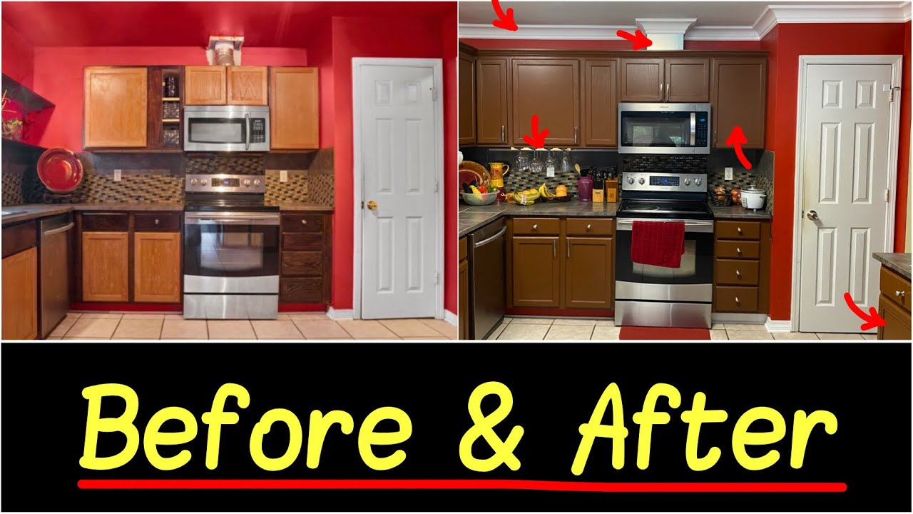Before And After Kitchen Makeover Upgrades Nomastyl Polystyrene Foam Crown Moulding 8mo Update Youtube