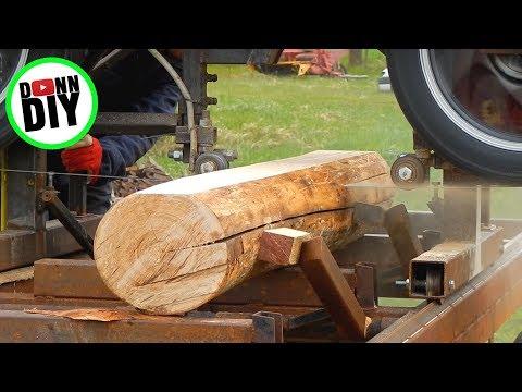 Sawmilling Ash Tree On My Homemade Band Sawmill