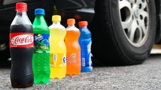CAR VS COCA-COLA VS SPINNER VS MELON VS BEER VS COLGATE VS SPRITE VS FANTA WITH SLOW MOTION!