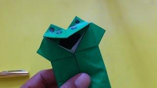 Cara Membuat Origami Boneka Katak Mulut Bergerak | Origami Binatang