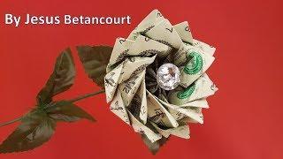 Money Flower Origami with 10 Dollar bills,  TUTORIAL